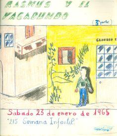 """Cartell il·lustrat per Rafael Lozano, per informar de l'hora del conte programada pel dia 23 de gener de 1965 en la biblioteca Pare Miquel d'Esplugues. El títol de la narració fou: """"Rasmus y el vagabundo (3a parte)"""""""