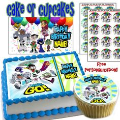 Personalized CAKE Teen Titans Go edible cake or cupcake toppers
