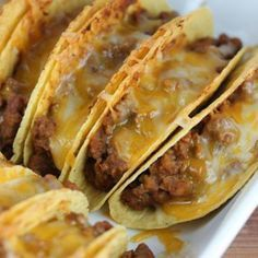 These are so tasty! My whole family loves them. I like to use the Stand and Fill taco shells. Tipping tacos is no fun! Also I get an aluminum casserole dish from the dollar store cause they are kind of messy. Use it and toss it. Found this recipe at www.http://blogchef.net/baked-tacos-recipe/