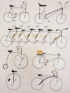 Three color screenprint of different kinds of bicycles and a unicycle (!).    A clean and simple print perfect for anyone who loves bikes.