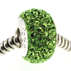Sterling Silver Birthstone Round Peridot Green Crystal For Pandora Troll European Bead Charm Bracelets August Queenberry