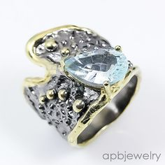 Handmade Ring Natural Blue Topaz 925 Sterling Silver Ring Size 7.75/R31430 #APBJewelry #Ring