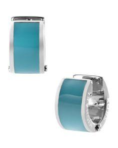 Y1JAB Michael Kors  Huggie Earrings, Turquoise/Silver Color