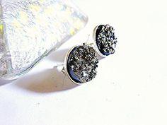 Black Druzy Stud Earrings Titanium Drusy Quartz by MoodTherapy, $39.95