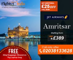 Grab your Seats Now by Just Call : 02038133628 save on Flights to Amritsar