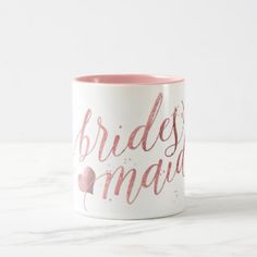 PixDezines Bridesmaid/Faux Rose Gold/Modern Script Two-Tone Coffee Mug - diy cyo customize create your own personalize