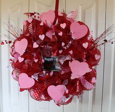 Pink, Red & White Heart Valentine's Wreath by Mady Bella Designs