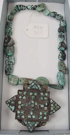 Tibetan turquoise & silver gau (prayer box), ca. 19th century.