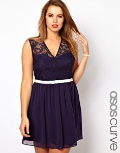 ASOS CURVE Dress with Lace Bodice and Velvet Bow