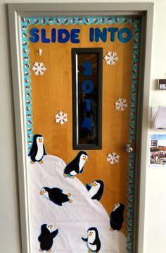 SLIDE INTO 2014. My new winter door decor!