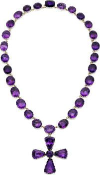 Foilbacked Amethyst, Silver, Gold Enhancer-Necklace The necklace features oval-shaped foilbacked amethyst, suspending a detachable cross formed by round and fancy-shaped foilbacked amethyst, all set in silver backed by 18k yellow gold; completed by a concealed box clasp crowned by a cushion-shaped foilbacked amethyst. Gross weight 74.40 grams.