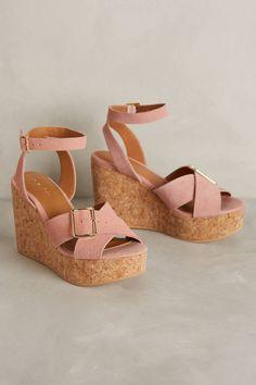 Anthropologie Lien.Do Mundo Wedges Sz 8.5, Pink Suede Gold Buckle Heels Sandals #LienDo #PlatformsWedges #Casual