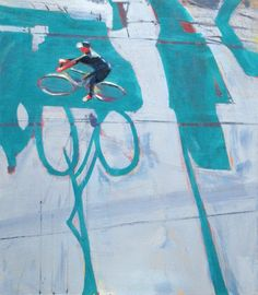 David Kapp - Cyclist and Sign, 2014 oil on linen, 44 x 38 inches