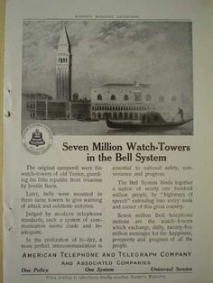 ATT Seven Million watch towers in Bell system American Telephone and Telegraph Co (1913)