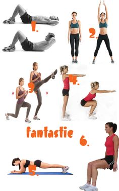 1. 40 crunches     2. 50 jumping jacks     3. 25 lunge kicks (each leg)     4. 40 squats     5. 45 second plank     6. 60 second wall sit