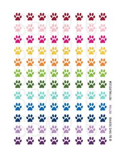 Weekly Planner Stickers - Rainbow Puppy Dog Paw Print Stickers - Planner Labels - Fits Erin Condren, The Happy Planner, Filofax and more! by partyINK on Etsy