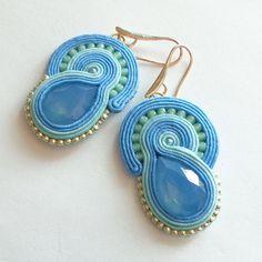 Blue soutache earrings turquoise mermaid sea sutasz by Lolissa