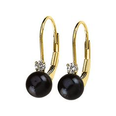 14K Yellow Gold Diamond Black Pearl Leverback Earrings, $295.23 at Good Offers Online