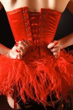 Red corsets Ribbon and Boas . that's Burlesque ; Corsets, Red Corset, Red Feather, Feather Skirt, Burlesque Costumes, Dita Von Teese, Cabaret, Showgirls, Red Fashion