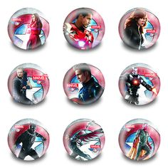 New Arrival 9pcs Captain America Pins Buttons Badges Round Badges fashion Bags parts accessories Party children School Gifts