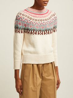 Fair Isle-patterned cotton sweater | Weekend Max Mara | MATCHESFASHION.COM UK Nordic Sweater, Fair Isle Pattern, Fall Sweaters, Cotton Sweater, Knitting Designs, Max Mara, Simple Outfits, Outfit Posts, Sweater Weather