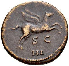 Antigua moneda romana de bronce del emperador Adriano, que incluyen Pegasus. do. 125 C. E.