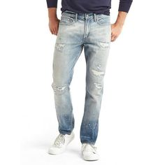Gap Men ORIGINAL 1969 Vintage Destructed Slim Fit Jeans ($90) ❤ liked on Polyvore featuring men's fashion, men's clothing, men's jeans, light wash, tall, mens ripped jeans, mens jeans, mens light wash jeans, mens distressed jeans and mens faded jeans