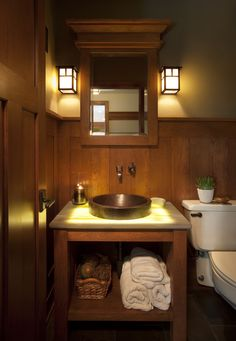 Mission Style powder room idea dark hardwood wainscoting dark yellow walls open cabinet under sink bathroom vanity with white top of Mission Style Decorating, A Way to Capture Beauty and Warmth to Your Home Craftsman Style Bathrooms, Craftsman Interior, Craftsman Homes, Craftsman Fireplace, Yellow Wall Decor, Yellow Walls, Style At Home, Mission Style Decorating, Bathroom Sink Tops