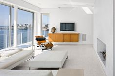 Newick Architects - Architect - New Haven - Coastal - Living Room - White Color Scheme - White - Blue - Ocean - View - Simple - Fresh - Wood - Sleek - Contemporary Living Room Interior, Home Living Room, Living Room Designs, Terrazo Flooring, Water House, Hall Design, White Rooms, Cool Rooms, Terrazzo