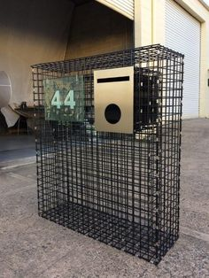 Custom Gabion Letterbox, Black Coated Weld Mesh Material With Stainless Steel Clips and Face Plate, Lockable Mail Compartment. Gabion Fence, Gabion Wall, Backyard Fences, Front Yard Landscaping, Stainless Steel Mailbox, Name Plates For Home, Front Path, Garden Wall Designs, Modern Mailbox