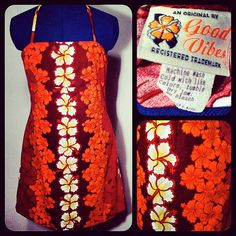 Vintage Good Vibes Orange Red Hawaiian Halter by BeatificVintage, $22.00