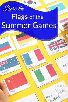 Flags | Olympics | Kids Geography | This is a fun way to get ready for the summer Olympics! It's a free printable for kids to learn to identify flags.