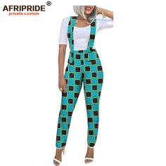 2019 spring&autumn african overall pants for women AFRIPRIDE tailor made ankle length flat reguar women cotton pants African Fashion Ankara, African Fashion Designers, Latest African Fashion Dresses, African Dresses For Women, African Print Fashion, Africa Fashion, African Attire, African Wear, African Outfits