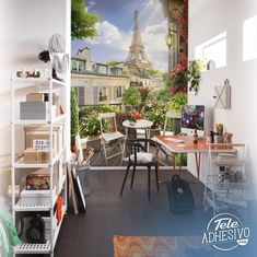 Wall mural Terrace in front of the Eiffel tower. In this mural there is a terrace with its nightstand and surrounded by flowers overlooking the famous Eiffel Tower Eiffel Tower Painting, Headboard Ideas, Wall Design, Wall Murals, Basement, Table Decorations, Living Room, Furniture, Home Decor
