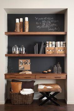 52 super Ideas home office nook in kitchen shelves Office Nook, Home Office Space, Home Office Design, Home Office Decor, House Design, Home Decor, Office Ideas, Home Living Room, Living Room Decor