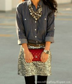 LIKE THE SHIRT, JEWELS, PURSE.WATCH. BUT I'D WEAR JEANS. oops, sorry about the caps
