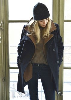 Never would have thought to layer two peacoats of different colors. Cute and undoubtedly warm.