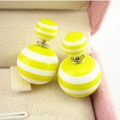 Yellow Earrings Yellow and white striped double sided earrings Jewelry Earrings