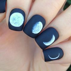 Moon phases nails  These look a lot better from a distance hehee  I've seen many people make these (including @banicured_ , @lieve91 , @ohmygoshpolish and many more) but I think @aliciatnails did these first ✨ ~ The brush I used for these is from the 'something blue' nail art brush set from @winstonia_store  ~ Polishes used: @pinkprincesscosmetics 'respect' Essie 'good to go' Opi 'matte topcoat'