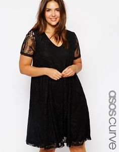 ASOS CURVE Exclusive Swing Dress In Lace With Deep V In Longer Length