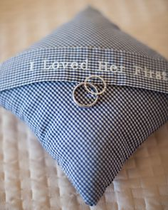 Ring bearer's pillow, made from my dad's shirt