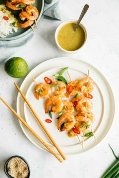 Grilled Shrimp Skewers with Citrus and Garlic Sauce in an easy, recipe. Light, healthy and tasty main or simple side dish. Make it for your next bbq or picnic. Best Appetizer Recipes, Best Appetizers, Shrimp Recipes, Dinner Recipes, Seafood Dishes, Fish And Seafood, Fish Stock Recipe, Honey Shrimp, Grilled Shrimp Skewers