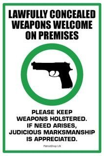 """Guns Welcome sticker I would shop somewhere that had one of these<br> """"Lawfully Concealed Weapons Welcome on Premises"""" high quality vinyl sticker, made in the USA for The Patriot Post Shop, measures Home Defense, Self Defense, Concealed Carry Weapons, Pro Gun, Gun Rights, Apocalypse Survival, Guns And Ammo, Weapons Guns, 2nd Amendment"""