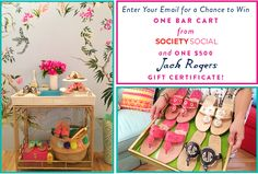 SUMMER GIVEAWAY! Get ready for summer soirees with Jack Rogers' biggest giveaway yet! Enter here http://woobox.com/trythd to win our fabulous Madison Mixer bar cart and a $500 gift certificate to JackRogersUSA.com!