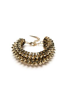 Golden Studs Bracelet - with a rock chic style. Combination of gold-tone box chains, studs and spikes.
