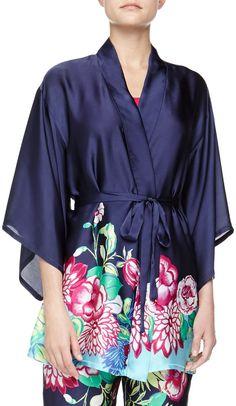 Josie Rimma Floral Print Kimono Wrap Robe, Blue on shopstyle.com