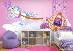 Princess wall mural with purple bedroom furtniture