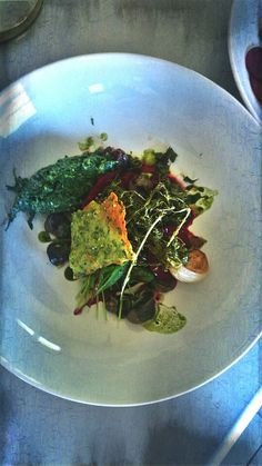 Escargots des Grands Crus de Bouzy sa roquette et orties du jardin et son sorbet poivré de betterave rouge