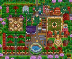 Stardew Valley Farm Tour - Beatiful farm layout for retirement Stardew Farms, Stardew Valley Farms, Lego Submarine, Stardew Valley Layout, Farm Layout, Farm Plans, Nerd Love, Clash Of Clans, Country Life