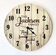 """Personalized Rustic Wood Print Clock 18"""" Diameter  #Clock #Diameter #personalized #Print #Rustic #RusticWallClock #Wood The Rustic Clock"""